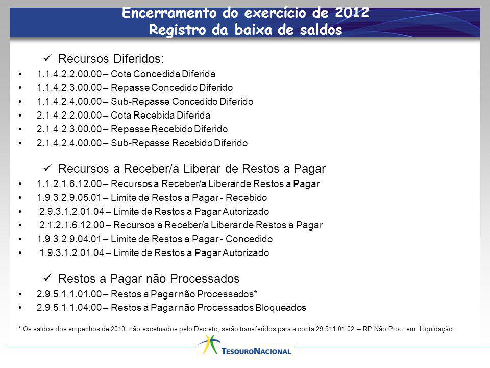 Encerramento do exercício de 2012 Inscrição de RP Não Processados LDO 2013 – Segregar RP Não Processados em exigíveis (em liquidação) e não exigíveis (a liquidar).