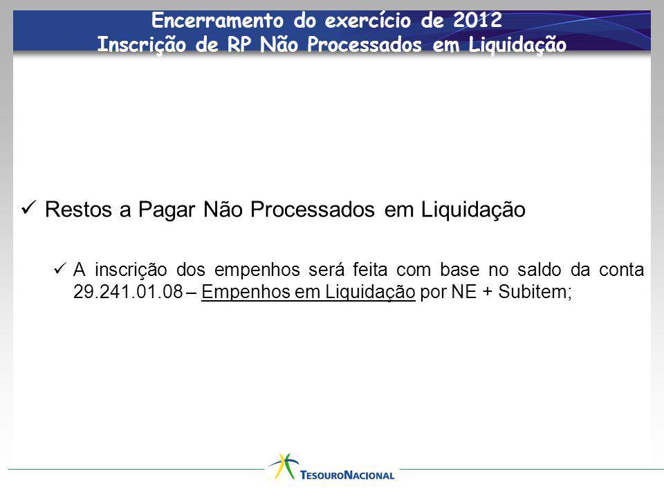 Encerramento do exercício de 2012 Inscrição de RP Não Processados em Liquidação Empenhos em Liquidação – despesas com a execução iniciada até 31/dez/12.