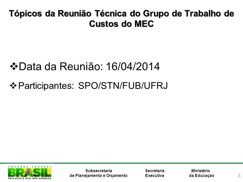 5 Ministério da Educação Subsecretaria de Planejamento e Orçamento Secretaria Executiva Tópicos da Reunião Técnica do Grupo de Trabalho de Custos do MEC Data da Reunião: 16/04/2014 Participantes: SPO/STN/FUB/UFRJ