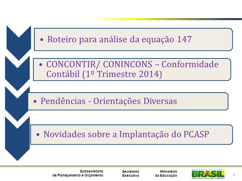 Ministério da Educação Subsecretaria de Planejamento e Orçamento Secretaria Executiva 2 Roteiro para análise da equação 147 CONCONTIR/ CONINCONS – Con