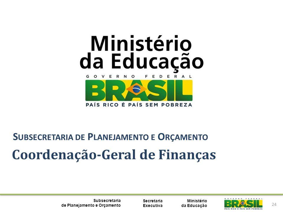 Ministério da Educação Subsecretaria de Planejamento e Orçamento Secretaria Executiva 24 Coordenação-Geral de Finanças S UBSECRETARIA DE P LANEJAMENTO E O RÇAMENTO