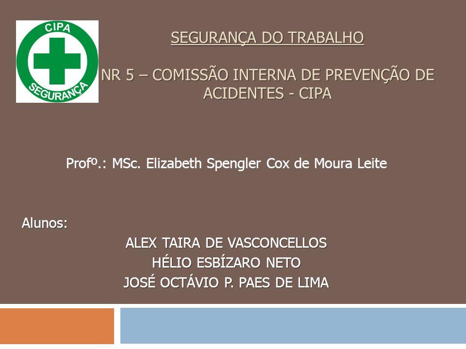 SEGURANÇA DO TRABALHO NR 5 – COMISSÃO INTERNA DE PREVENÇÃO DE ACIDENTES - CIPA Profº.: MSc.