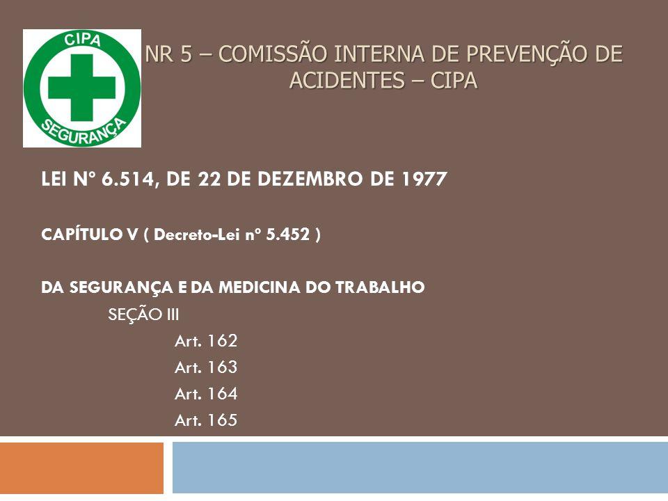 NR 5 – COMISSÃO INTERNA DE PREVENÇÃO DE ACIDENTES – CIPA LEI Nº 6.514, DE 22 DE DEZEMBRO DE 1977 CAPÍTULO V ( Decreto-Lei nº 5.452 ) DA SEGURANÇA E DA MEDICINA DO TRABALHO SEÇÃO III Art.
