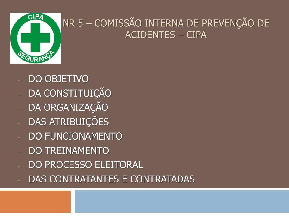 NR 5 – COMISSÃO INTERNA DE PREVENÇÃO DE ACIDENTES – CIPA - DO OBJETIVO - DA CONSTITUIÇÃO - DA ORGANIZAÇÃO - DAS ATRIBUIÇÕES - DO FUNCIONAMENTO - DO TREINAMENTO - DO PROCESSO ELEITORAL - DAS CONTRATANTES E CONTRATADAS