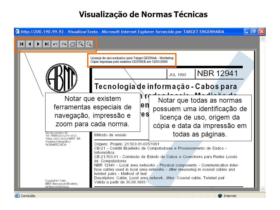 Notar que existem ferramentas especiais de navegação, impressão e zoom para cada norma. Notar que todas as normas possuem uma identificação de licença