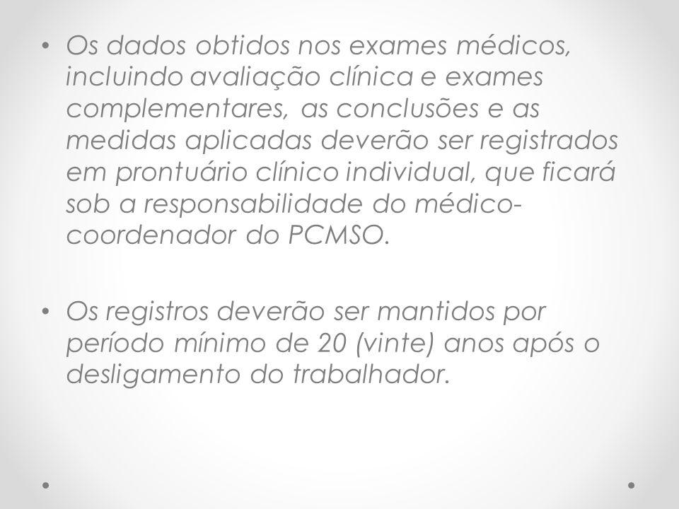 Os dados obtidos nos exames médicos, incluindo avaliação clínica e exames complementares, as conclusões e as medidas aplicadas deverão ser registrados em prontuário clínico individual, que ficará sob a responsabilidade do médico- coordenador do PCMSO.