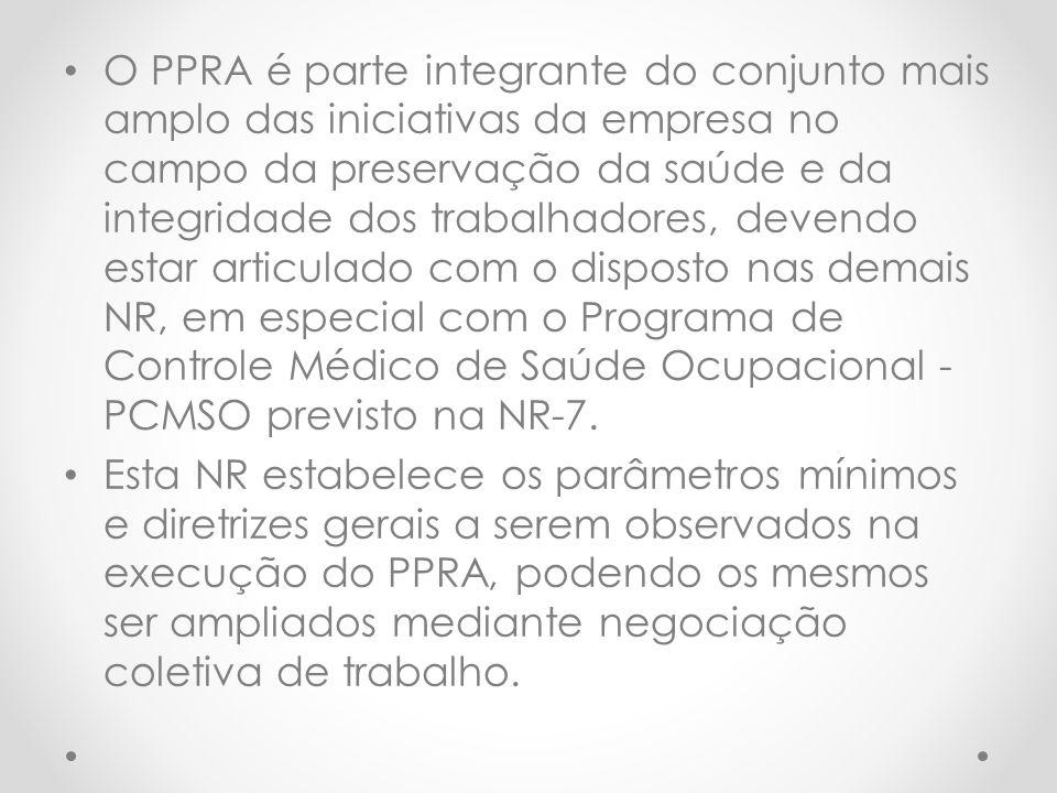 O PPRA é parte integrante do conjunto mais amplo das iniciativas da empresa no campo da preservação da saúde e da integridade dos trabalhadores, devendo estar articulado com o disposto nas demais NR, em especial com o Programa de Controle Médico de Saúde Ocupacional - PCMSO previsto na NR-7.