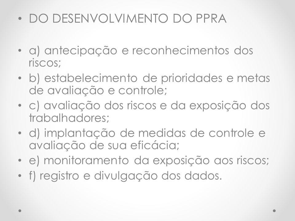 DO DESENVOLVIMENTO DO PPRA a) antecipação e reconhecimentos dos riscos; b) estabelecimento de prioridades e metas de avaliação e controle; c) avaliaçã