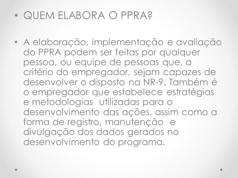 QUEM ELABORA O PPRA.
