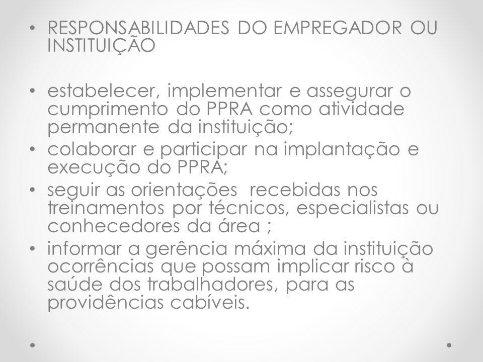 RESPONSABILIDADES DO EMPREGADOR OU INSTITUIÇÃO estabelecer, implementar e assegurar o cumprimento do PPRA como atividade permanente da instituição; co