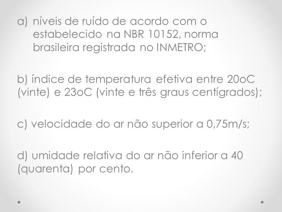 a)níveis de ruído de acordo com o estabelecido na NBR 10152, norma brasileira registrada no INMETRO; b) índice de temperatura efetiva entre 20oC (vinte) e 23oC (vinte e três graus centígrados); c) velocidade do ar não superior a 0,75m/s; d) umidade relativa do ar não inferior a 40 (quarenta) por cento.