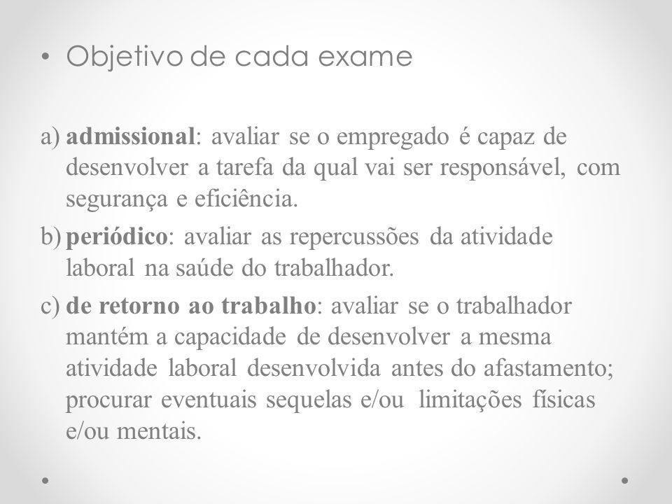 d)mudança de função: verificar se o trabalhador possui aptidão física e psicológica para a nova função.