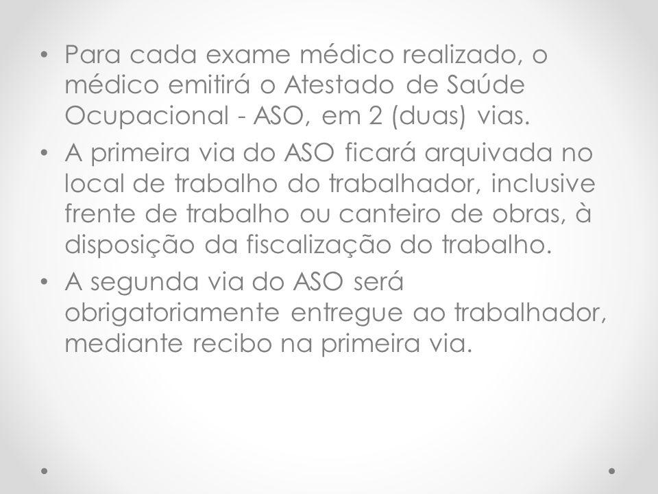 Para cada exame médico realizado, o médico emitirá o Atestado de Saúde Ocupacional - ASO, em 2 (duas) vias. A primeira via do ASO ficará arquivada no