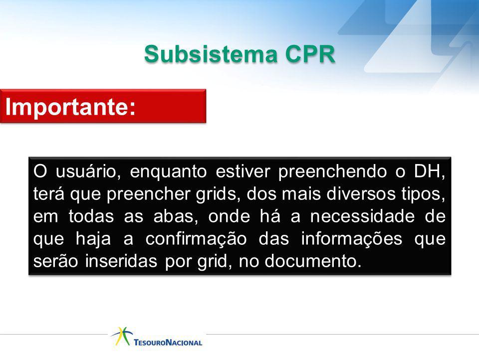 Subsistema CPR O usuário, enquanto estiver preenchendo o DH, terá que preencher grids, dos mais diversos tipos, em todas as abas, onde há a necessidad