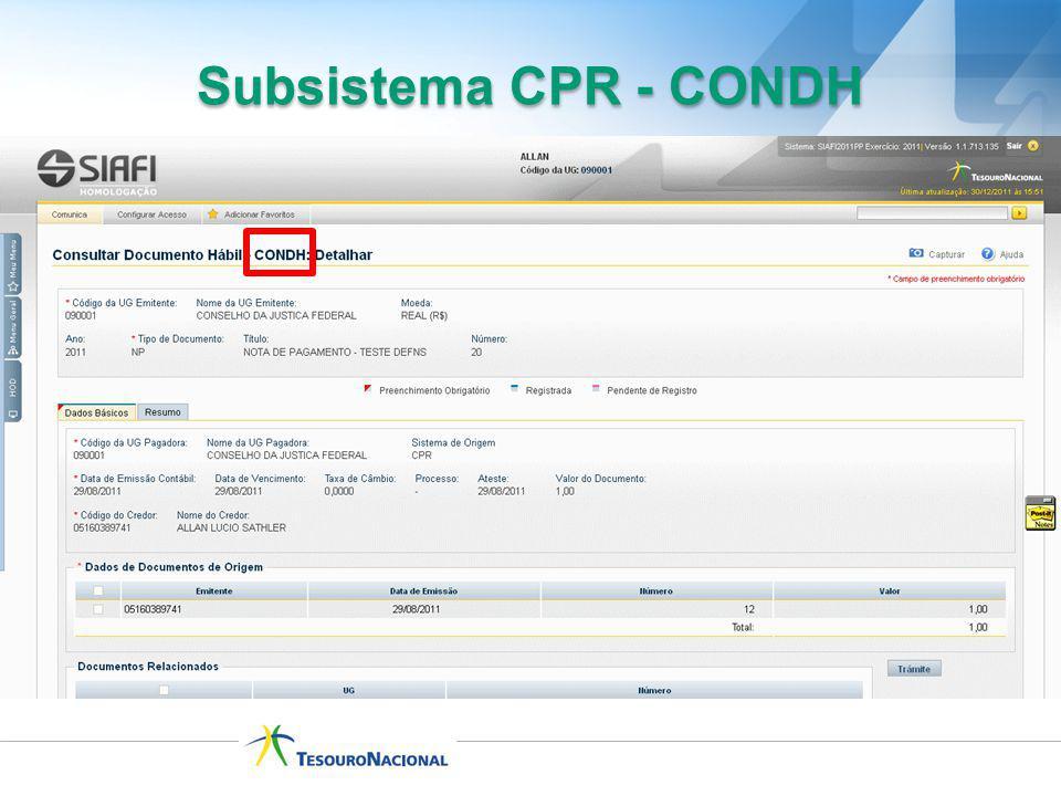 Subsistema CPR - CONDH