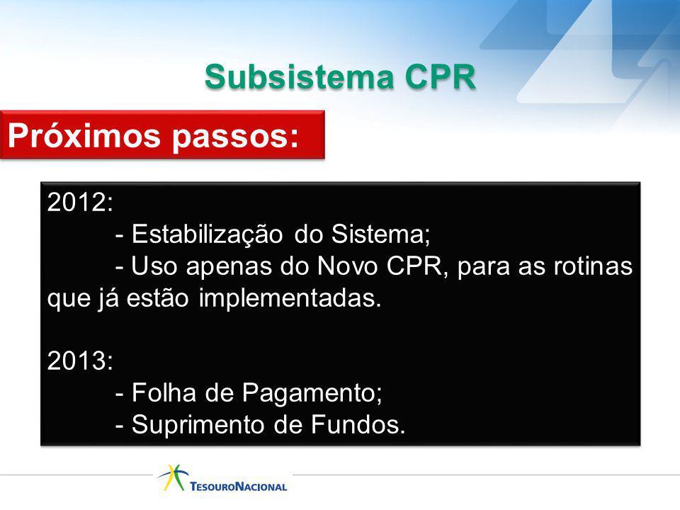 Subsistema CPR 2012: - Estabilização do Sistema; - Uso apenas do Novo CPR, para as rotinas que já estão implementadas. 2013: - Folha de Pagamento; - S