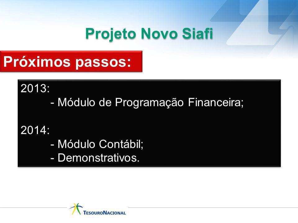 Projeto Novo Siafi 2013: - Módulo de Programação Financeira; 2014: - Módulo Contábil; - Demonstrativos. 2013: - Módulo de Programação Financeira; 2014