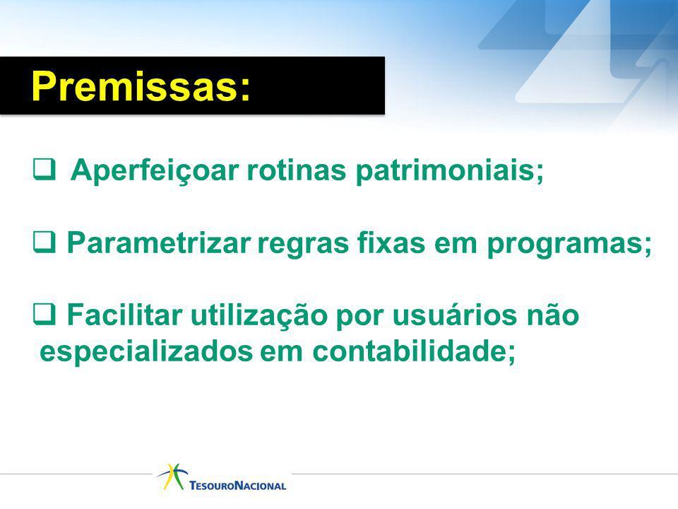 Aperfeiçoar rotinas patrimoniais; Parametrizar regras fixas em programas; Facilitar utilização por usuários não especializados em contabilidade; Premi