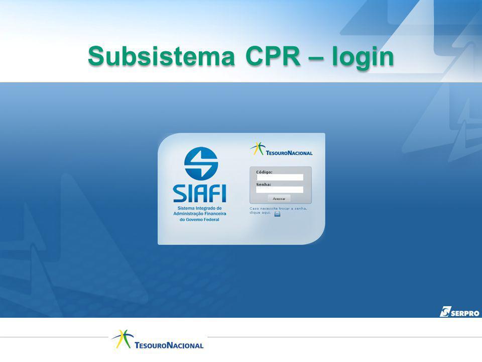 Subsistema CPR – login