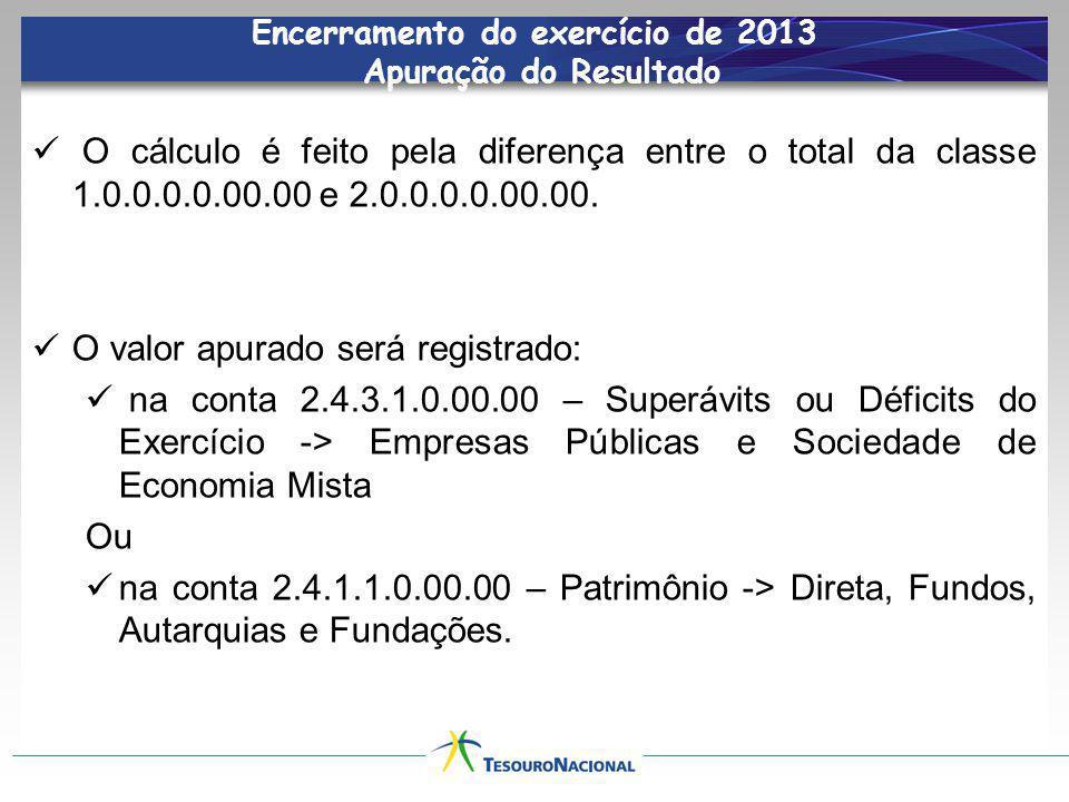 Encerramento do exercício de 2013 Apuração do Resultado O cálculo é feito pela diferença entre o total da classe 1.0.0.0.0.00.00 e 2.0.0.0.0.00.00. O