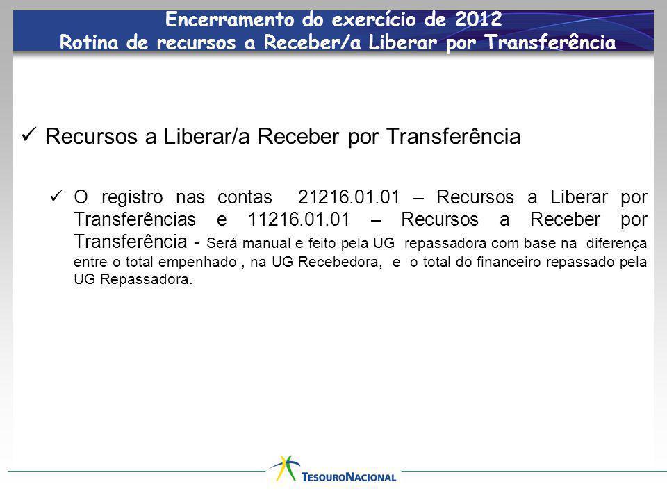 Encerramento do exercício de 2012 Rotina de recursos a Receber/a Liberar por Transferência Recursos a Liberar/a Receber por Transferência O registro n