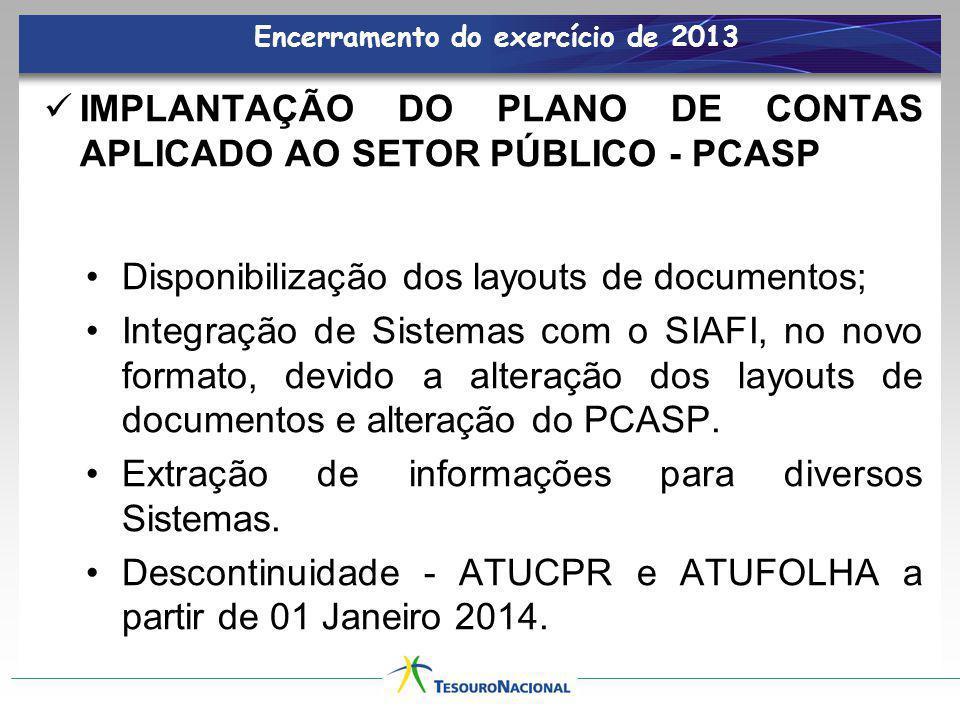 Encerramento do exercício de 2013 IMPLANTAÇÃO DO PLANO DE CONTAS APLICADO AO SETOR PÚBLICO - PCASP Disponibilização dos layouts de documentos; Integra