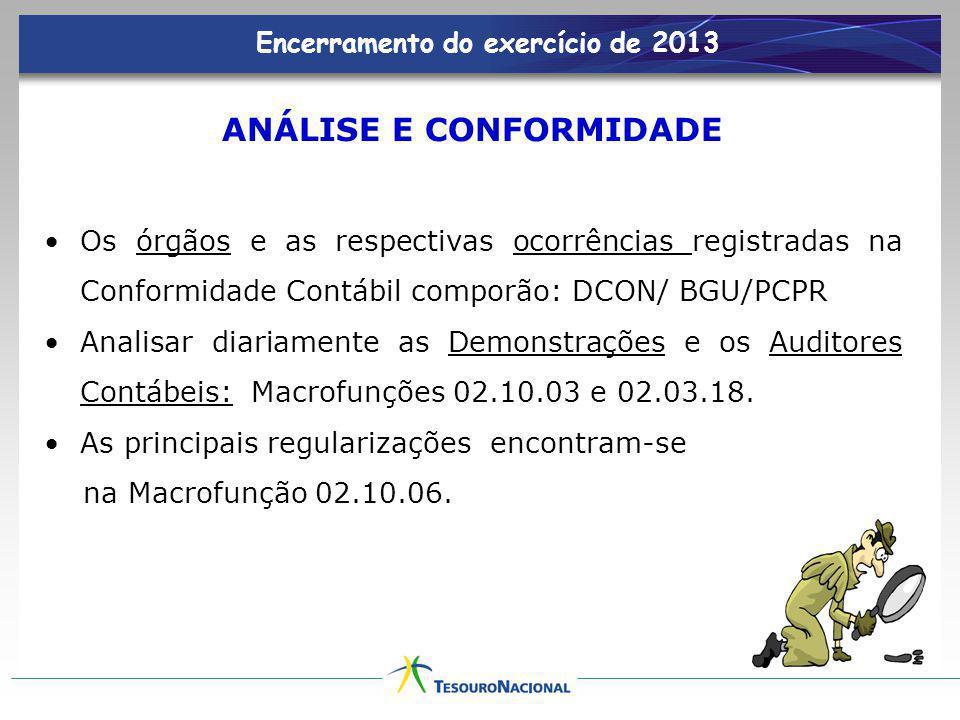 ANÁLISE E CONFORMIDADE Os órgãos e as respectivas ocorrências registradas na Conformidade Contábil comporão: DCON/ BGU/PCPR Analisar diariamente as De