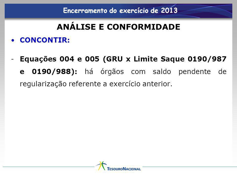 Encerramento do exercício de 2013 ANÁLISE E CONFORMIDADE CONCONTIR: -Equações 004 e 005 (GRU x Limite Saque 0190/987 e 0190/988): há órgãos com saldo