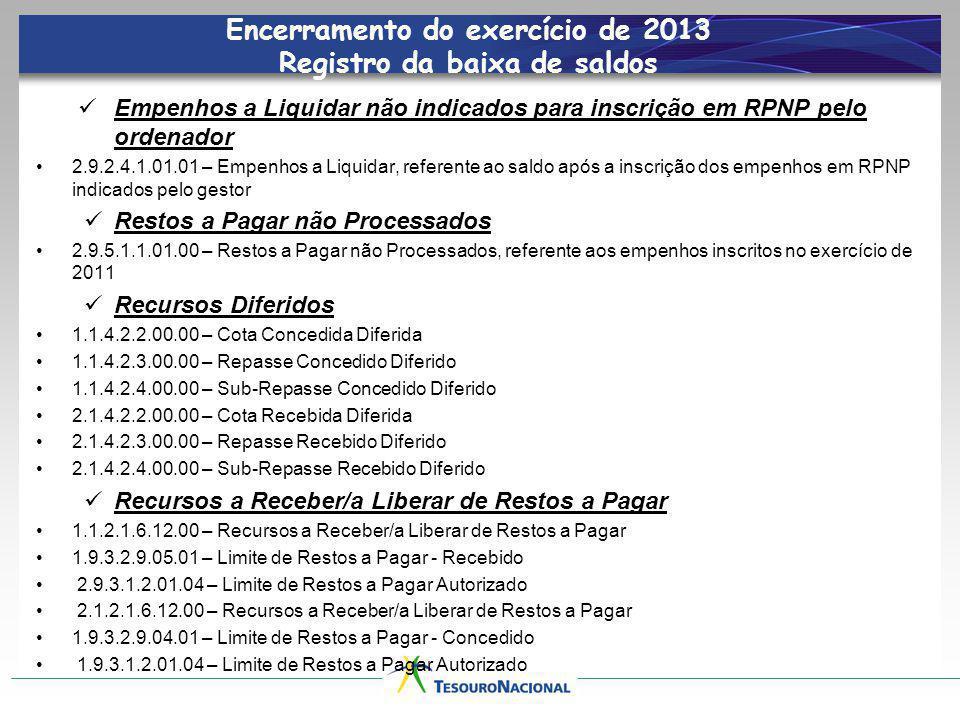 Encerramento do exercício de 2013 Registro da baixa de saldos Empenhos a Liquidar não indicados para inscrição em RPNP pelo ordenador 2.9.2.4.1.01.01