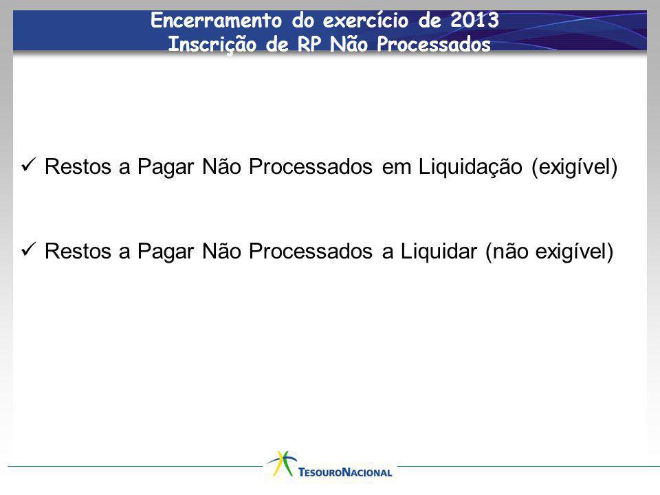 Encerramento do exercício de 2013 Inscrição de RP Não Processados Restos a Pagar Não Processados em Liquidação (exigível) Restos a Pagar Não Processad