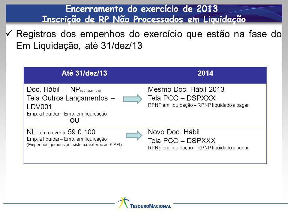Encerramento do exercício de 2013 Inscrição de RP Não Processados em Liquidação Registros dos empenhos do exercício que estão na fase do Em Liquidação