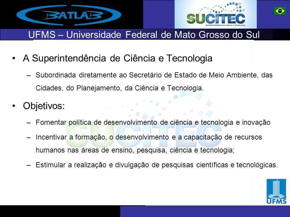 UFMS – Universidade Federal de Mato Grosso do Sul A Superintendência de Ciência e Tecnologia –Subordinada diretamente ao Secretário de Estado de Meio