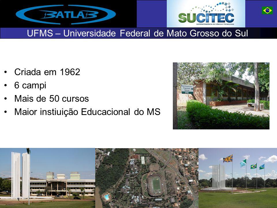 UFMS – Universidade Federal de Mato Grosso do Sul Criada em 1962 6 campi Mais de 50 cursos Maior instiuição Educacional do MS