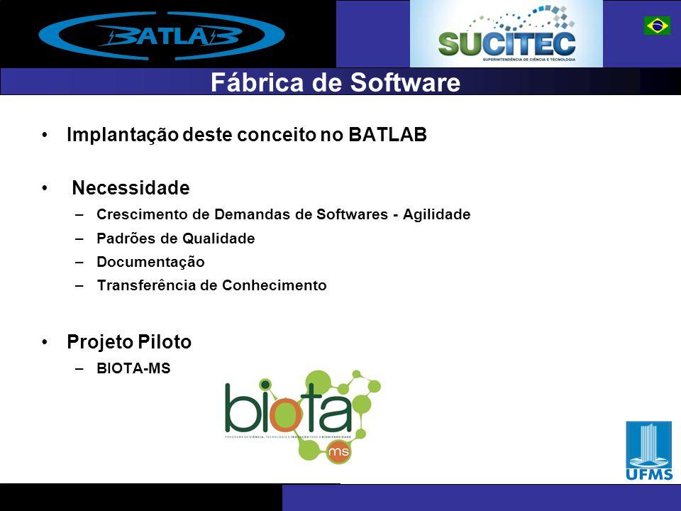 Fábrica de Software Implantação deste conceito no BATLAB Necessidade –Crescimento de Demandas de Softwares - Agilidade –Padrões de Qualidade –Document