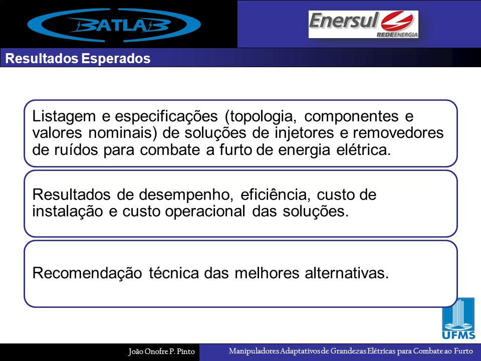 Manipuladores Adaptativos de Grandezas Elétricas para Combate ao Furto João Onofre P. Pinto Resultados Esperados Listagem e especificações (topologia,