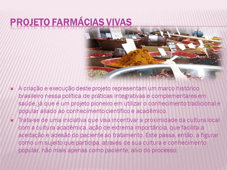 A criação e execução deste projeto representam um marco histórico brasileiro nessa política de práticas integrativas e complementares em saúde, já que