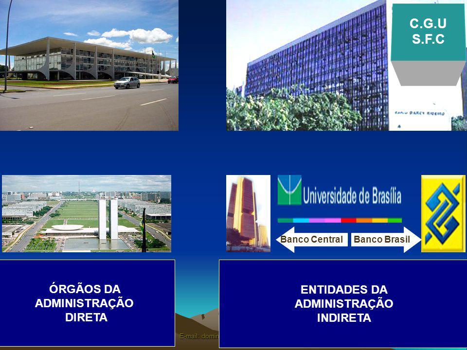 E-mail: domingos.poubel@globo.com ENTIDADES DA ADMINISTRAÇÃO INDIRETA ÓRGÃOS DA ADMINISTRAÇÃO DIRETA SISTEMA DE CONTROLEINTERNO Banco Brasil Banco Central C.G.U S.F.C
