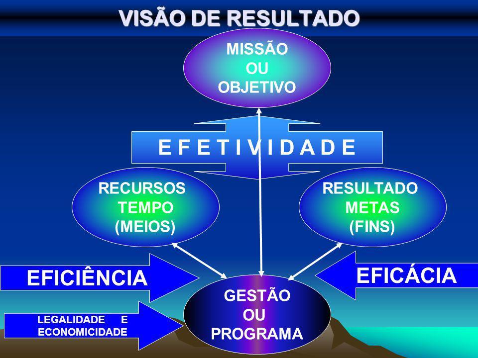 VISÃO DE RESULTADO GESTÃO OU PROGRAMA MISSÃO OU OBJETIVO EFICÁCIA EFICIÊNCIA E F E T I V I D A D E RESULTADO METAS (FINS) RECURSOS TEMPO (MEIOS) LEGALIDADE E ECONOMICIDADE