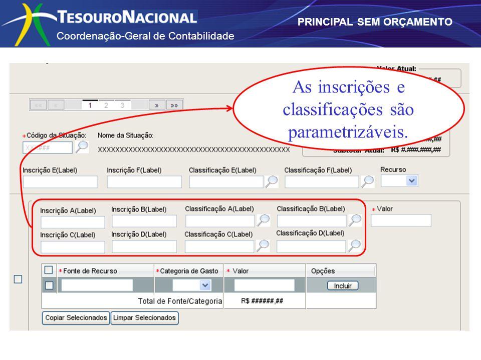Coordenação-Geral de Contabilidade PRINCIPAL SEM ORÇAMENTO As inscrições e classificações são parametrizáveis.