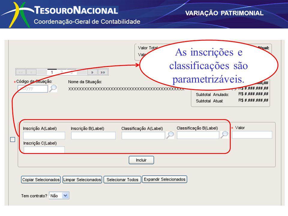 Coordenação-Geral de Contabilidade VARIAÇÃO PATRIMONIAL As inscrições e classificações são parametrizáveis.