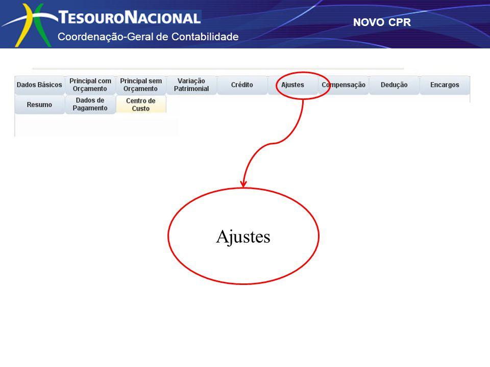 Coordenação-Geral de Contabilidade NOVO CPR Ajustes