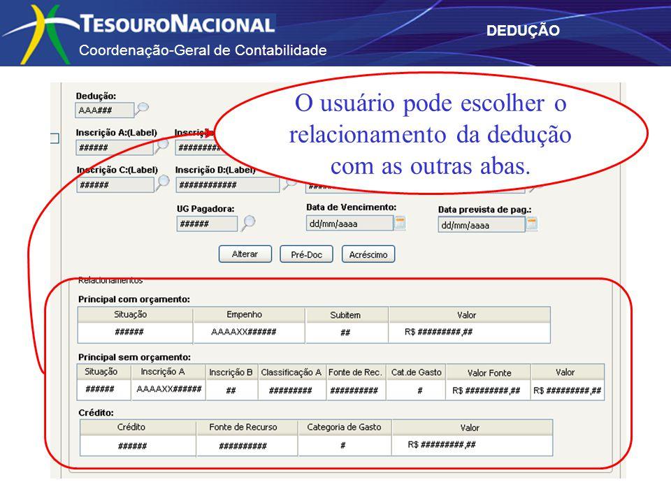 Coordenação-Geral de Contabilidade DEDUÇÃO O usuário pode escolher o relacionamento da dedução com as outras abas.
