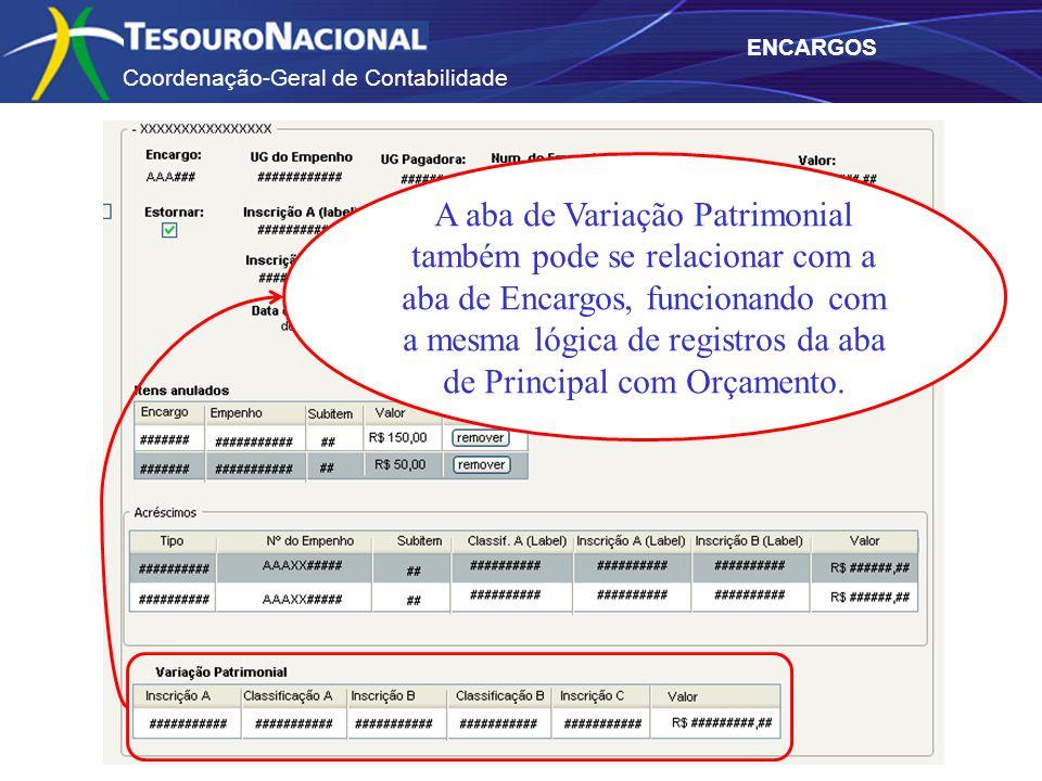 Coordenação-Geral de Contabilidade ENCARGOS A aba de Variação Patrimonial também pode se relacionar com a aba de Encargos, funcionando com a mesma lóg