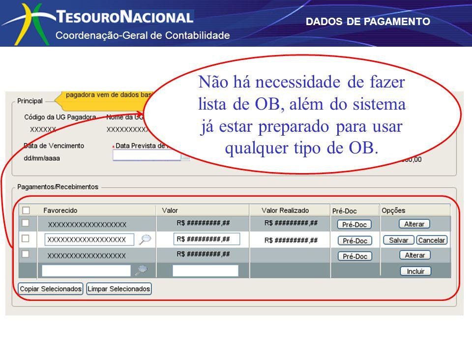 Coordenação-Geral de Contabilidade DADOS DE PAGAMENTO Não há necessidade de fazer lista de OB, além do sistema já estar preparado para usar qualquer tipo de OB.
