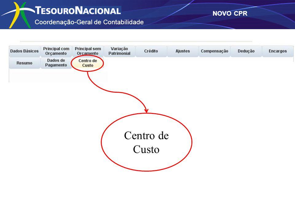 Coordenação-Geral de Contabilidade NOVO CPR Centro de Custo
