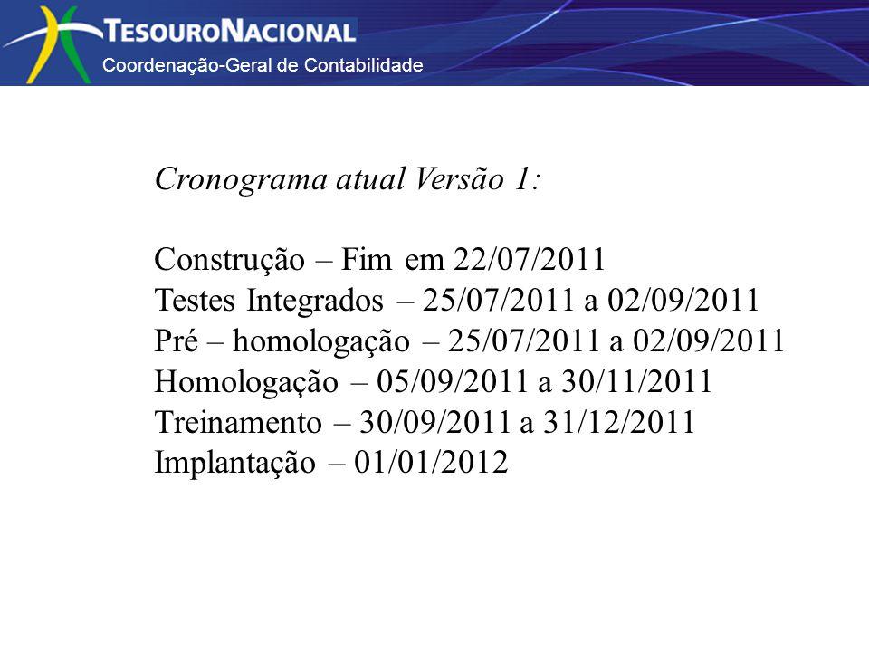 Coordenação-Geral de Contabilidade Cronograma atual Versão 1: Construção – Fim em 22/07/2011 Testes Integrados – 25/07/2011 a 02/09/2011 Pré – homologação – 25/07/2011 a 02/09/2011 Homologação – 05/09/2011 a 30/11/2011 Treinamento – 30/09/2011 a 31/12/2011 Implantação – 01/01/2012
