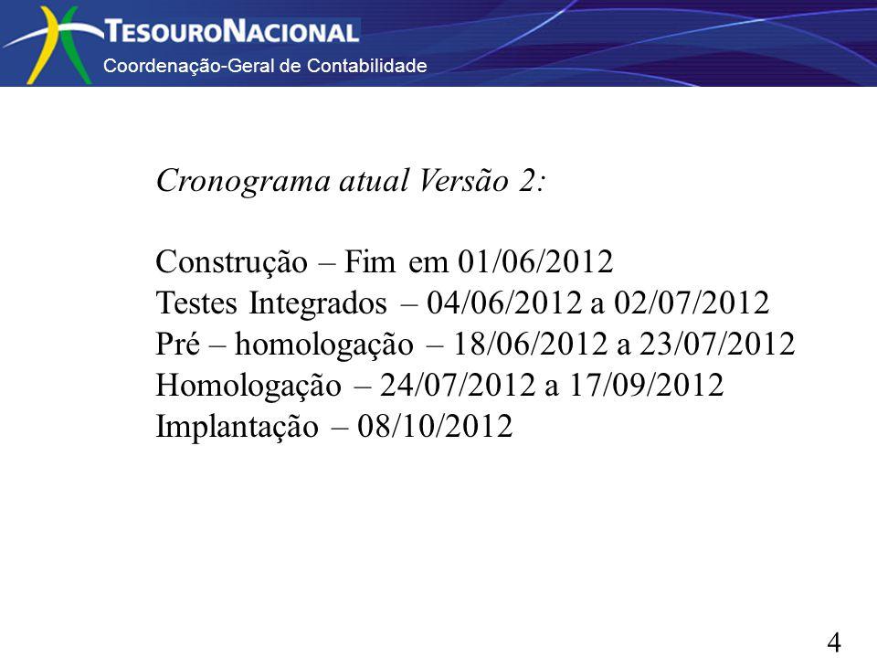 Coordenação-Geral de Contabilidade 44 Cronograma atual Versão 2: Construção – Fim em 01/06/2012 Testes Integrados – 04/06/2012 a 02/07/2012 Pré – homo