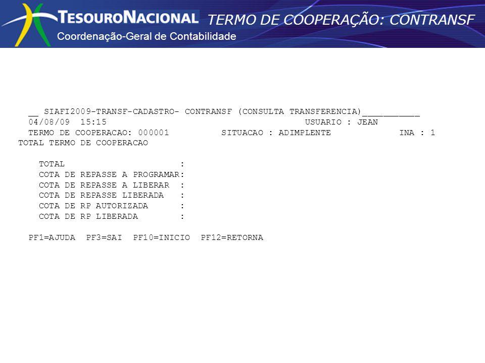 Coordenação-Geral de Contabilidade TERMO DE COOPERAÇÃO: CONTRANSF __ SIAFI2009-TRANSF-CADASTRO- CONTRANSF (CONSULTA TRANSFERENCIA)___________ 04/08/09
