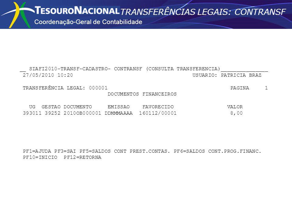 Coordenação-Geral de Contabilidade TRANSFERÊNCIAS LEGAIS: CONTRANSF __ SIAFI2010-TRANSF-CADASTRO- CONTRANSF (CONSULTA TRANSFERENCIA)_______________ 27