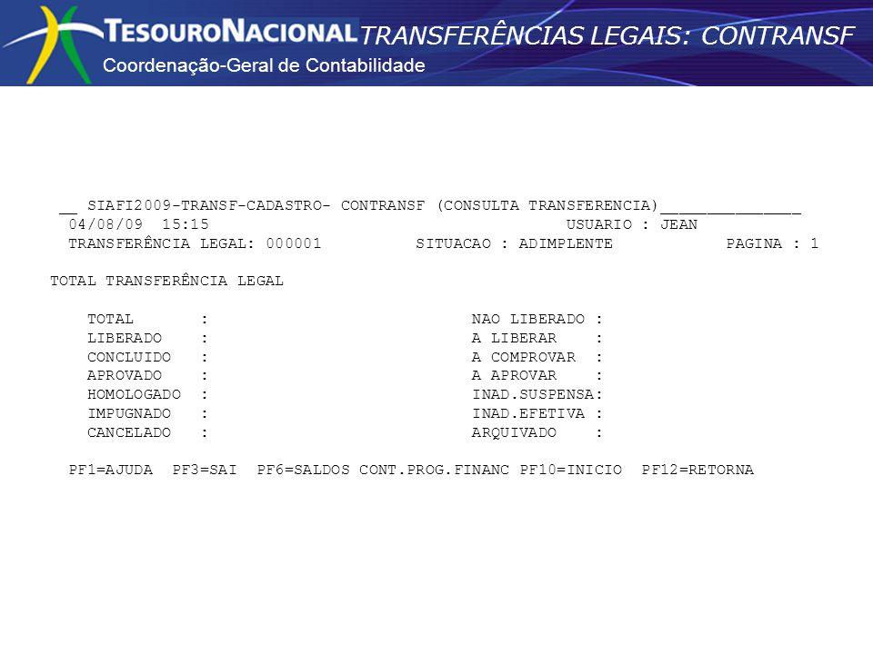 Coordenação-Geral de Contabilidade TRANSFERÊNCIAS LEGAIS: CONTRANSF __ SIAFI2009-TRANSF-CADASTRO- CONTRANSF (CONSULTA TRANSFERENCIA)_______________ 04